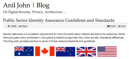 Anil John post on Identity Assurance G&S